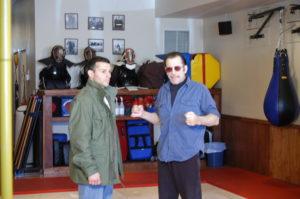 """Damian Ross (left) with Carl Cestari on the set of """"Combat Jujutsu"""" in Damian's Dojo in Pompton Lakes, NJ"""