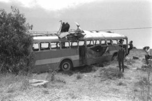 The remains of the Avivium School bus.