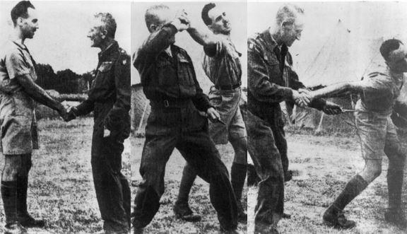 Fairbairn instructing at Camp X